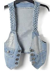 Women's Blue Denim Jacket , Vintage/Casual Sleeveless