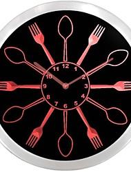 Cucchiai e forchette Kitchen Decor Neon LED Orologio da parete