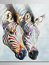 Oil Painting Animal Zebra in Love with Stretched Frame Hand-Painted Canvas