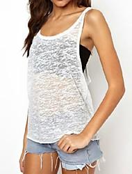 T-shirt (Nylon) - Sexet/Strand/Hverdag/Sødt - Uden ærmer - Tynd