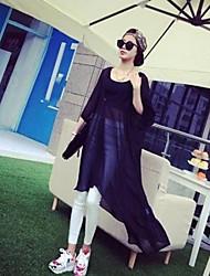 Women's Solid Black/Gray U Neck Long Sleeve