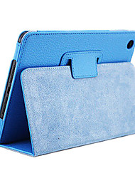 cor sólida ultra-fina capa de couro pu de corpo inteiro para o mini ipad 3, mini ipad 2, mini ipad (azul)