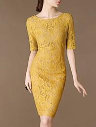 Women's Yellow Dress , Bodycon ½ Length Sleeve