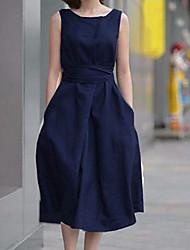 tecidos de linho sem mangas das mulheres ygr vestido solto