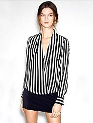 Women's V Neck Stripe Chiffon Blouse