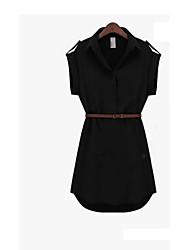 Nine Women's Chiffon Solid Color Short Sleeve Dress