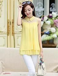 Women's Shirt Collar Mesh Stitching Layered Ruffled Sleeveless Chiffon Blouse