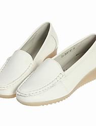 goma salto cunha sapatos de enfermagem sola das mulheres de couro macio