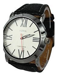 Women's Roman Numerals Dial Style Leather Band Quartz Wrist Watch