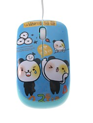 Tear Bears Cartoon Mini Color Printing Optical Retractable Cable USB Mouse