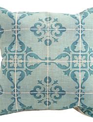 """Createforlife ® 18 """"Bleu floral vintage à carreaux décoratifs de toile de coton Taie d'oreiller carré Housse de coussin"""