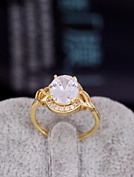 Women's  Fashion Unique Design Plated 18K Gold White AAA CZ Rings