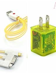 conduit clignotant double usb 2 ports adaptateur chargeur, plus souriant câble USB 3in1 de visage pour Samsung / iphone / ipad / costume de hache htc