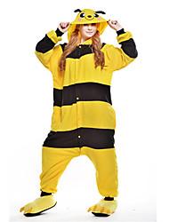 Kigurumi Pajamas Bee Leotard/Onesie Festival/Holiday Animal Sleepwear Halloween Yellow Patchwork Polar Fleece Kigurumi For Unisex