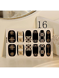 Golden  Stud Pattern 3D Nail Wrap Stickers For Long Nail False Tips Hot