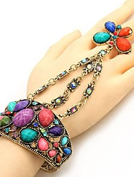 Retro National Hollow Out Four Disc Flower Style Bracelet with Ring (More Colors)