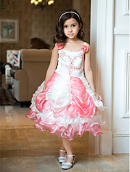 Ball Gown Tea-length Flower Girl Dress - Organza/Satin Sleeveless
