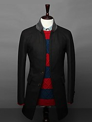 Slim Hommes stand Manteau simple boutonnage Blazer