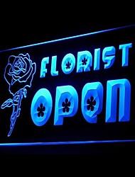 aperto negozio di fiori pubblicità ha condotto il segno della luce