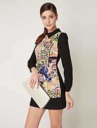 OSA Women's Lapel Medium Waist Classical Print Chiffon Dress