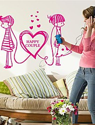 Doudouwo® Romance Boys and Girls Heart to Heart Wall Stickers