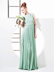 Lanting Bride® Floor-length Georgette Bridesmaid Dress - Sheath / Column Bateau Plus Size / Petite with Bow(s) / Sash / Ribbon