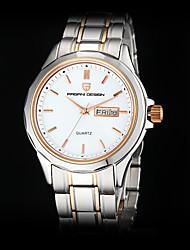 Pagani Couple's Calendar White Round Dial Full Steel Band Quartz Analog Wrist Watch
