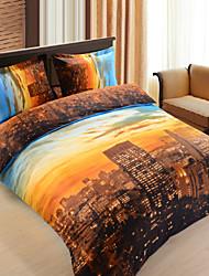 4 - Piece Chic Sunset 3D Print City Landscape Duvet Cover Set