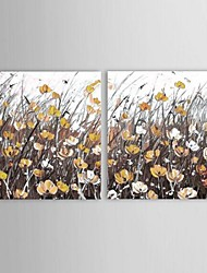Hand Painted Modern Knife Flower oil painting with Stretched Frame Set of 2