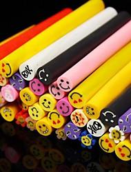 50PCS Happy Smile Face Pattern 3D Cane Stick Rod Sticker Random Color Nail Art Decoration