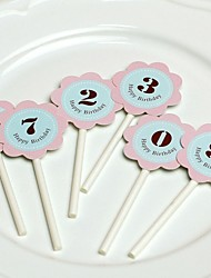 Flower Digital Card Birthday Cake Topper (More Colors)