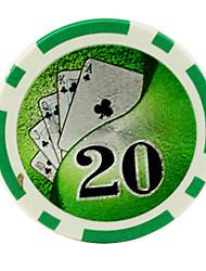 $ 20 зеленый 15 г абс маджонг чипы развлечений игрушки