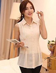 Women's Solid Beige Blouse , Shirt Collar Sleeveless Pleated