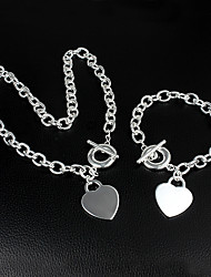 925 Silver Beautiful Heart Necklace Bracelet Set