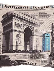 "Createforlife ® de 18 ""x 18"" Jornal Praça layout Torre Eiffel algodão / Linen almofadas decorativas"