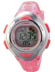 Kids' Sport Watch Digital Watch LCD Calendar Chronograph Water Resistant / Water Proof Alarm Digital Rubber Band Pink