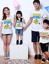 Family's Fashion Joker Printing Parent Child Round Collar Short Sleeve T Shirt