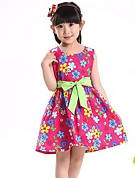 Children's Fashion Colorful Floral Belt Party Casual Clothes Girl Princess Dresses