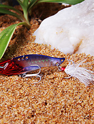 Fishing Bait 60MM/10G Red Head & Purple Fishing Lure Pack with Feather Hooks