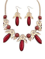 Women's Bohemia Exquisite Drop Rhinestone Flowers Assemble Statement Necklace Hook Earrings Suit (More Colors)  (1 set)