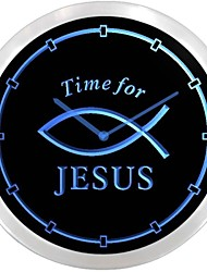 Time For Jesus Peixe Neon LED Relógio de parede