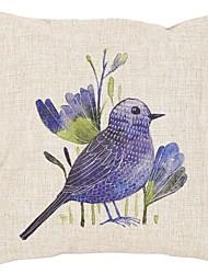 "Createforlife ® 18 ""x 18"" Quadrat Blue Bird Printed Baumwolle / Leinen Dekorative Kissen"
