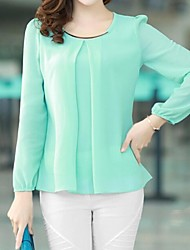 Women's Round Neck T-shirt , Chiffon Long Sleeve