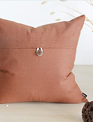 Button Solid Cotton/Linen Decorative Pillow Cover