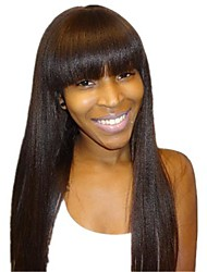 100% Brazilian Hair 18Inch Glueless Lace Wig with Neat Bangs Yaki Straight Off Black