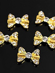 10pcs Bling Charm Golden Bow Tie 3D Alloy Rhinestones Nail Art Decoration