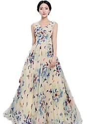 Mujeres YGR impresión floral vestido de gasa