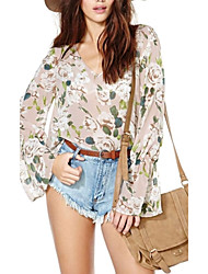 Vrouwen Textuur Bloem en V-hals kraag chiffon shirt