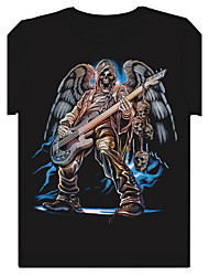 Men's Round Neck Noctilucent 3D Guitar Skull Pattern Cotton T-Shirt