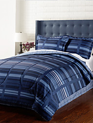4 Piece - Modern Navy Blue Stripe Comforter Set